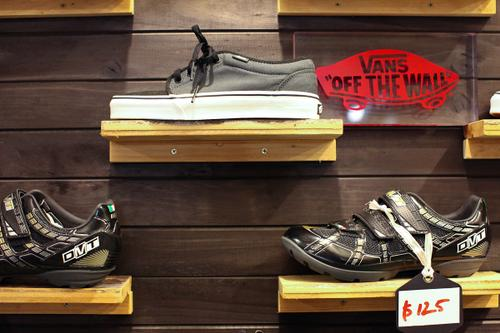 Vans next to MTB and road shoes