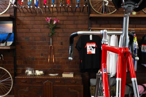 Andy's C-Record Merckx Pista is on display.