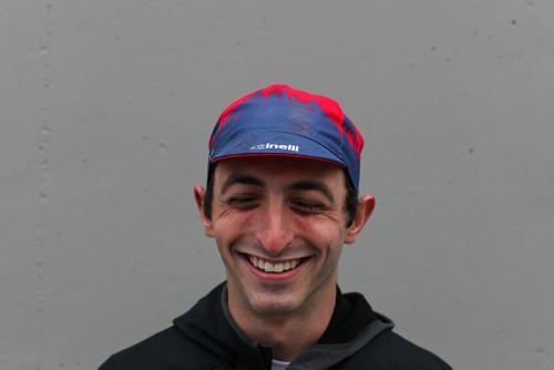 Steve modeling the Red Hook Crit cap