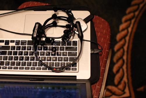 Patrick's EEG headset, resting on his laptop.