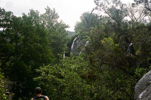 Climbing into Gorman's Falls