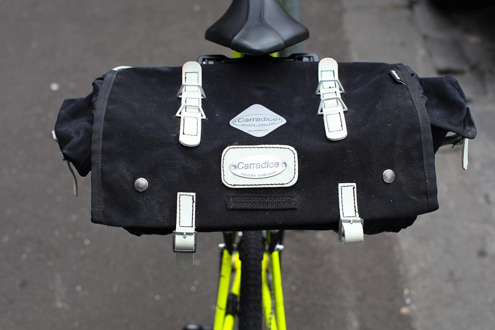 The Barley Saddle Bag is waterproof and in black, matches just about any bike. Even a neon yellow splatter punk's ride.