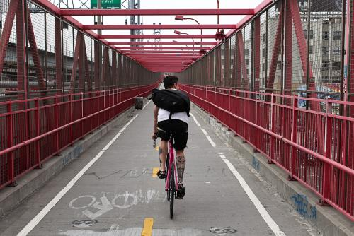 Over the bridge and to the city, braking not once, what a pity.