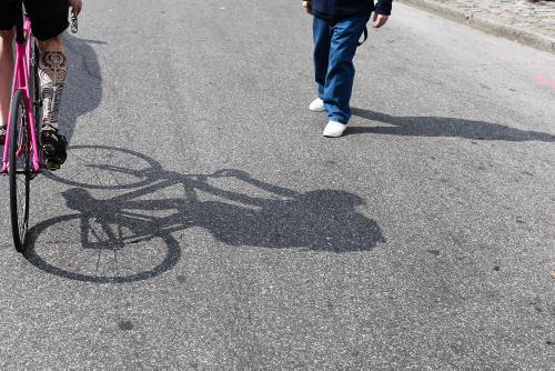 Shadows cross, shadows lie, when pedestrians' paths want to die.