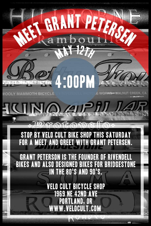 Velo Cult: Meet Grant Petersen this Saturday