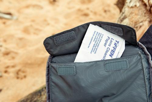 Media and accessory storage pockets.