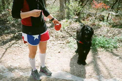 This dog hated us, but her shorts were so Texan.
