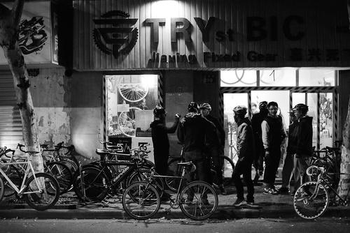 We ended the night in Jiaxing, at one of the local shops, for a small group ride.