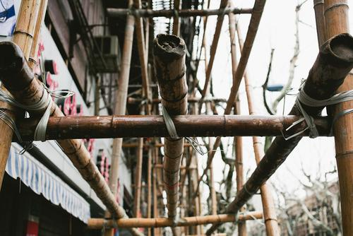 Bamboo scaffolding.