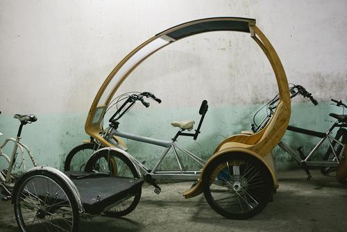 Custom bamboo and aluminum pedicab.