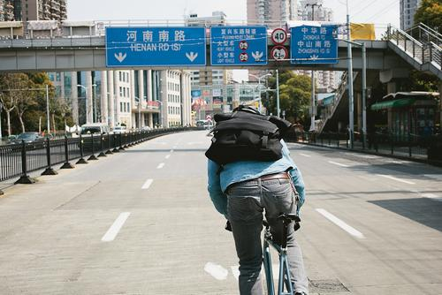 There's no easy way to slip into the traffic in Shanghai. You've just gotta go.