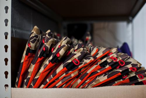 Nesting accessory bags in camo / hunter orange.