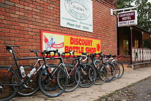 The bikes were set up in order of egos. Reuben's, Andy's, Mal's, mine, Dan's Joe's and Dave's.