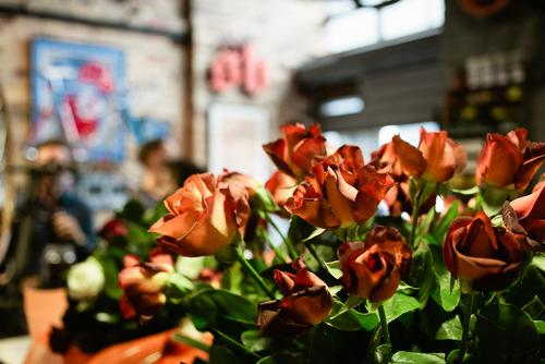 Dan from Shifter Bikes turned 40 and orange roses seemed fitting.