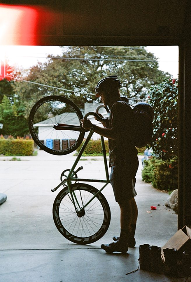 Aaron Bradford with his Rock Lobster track bike. Santa Cruz, CA. March, 2013
