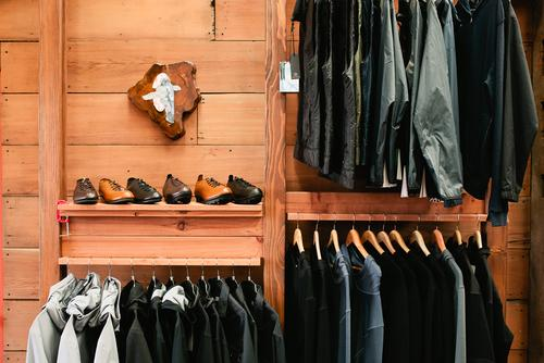 Quoc Pham shoe and apparel display.