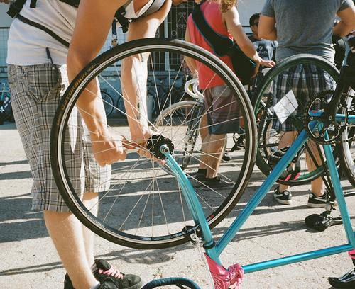 As the race neared its start, people started to prepare their bikes...