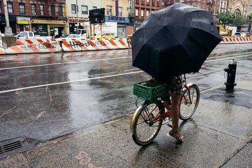 Umbrella, bicycle, cell phone with style