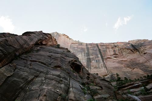 Overhanging rocks.
