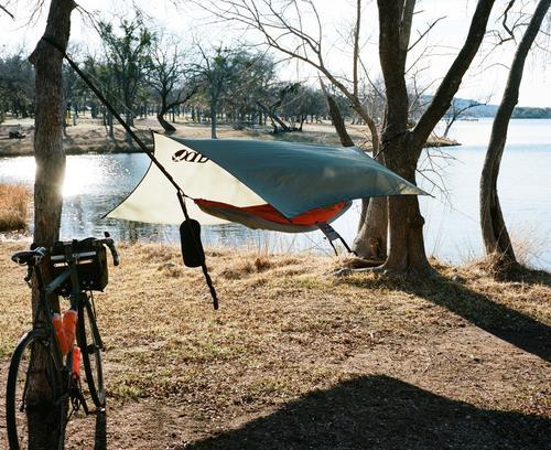 I was set up, ENO hammock, rain fly.