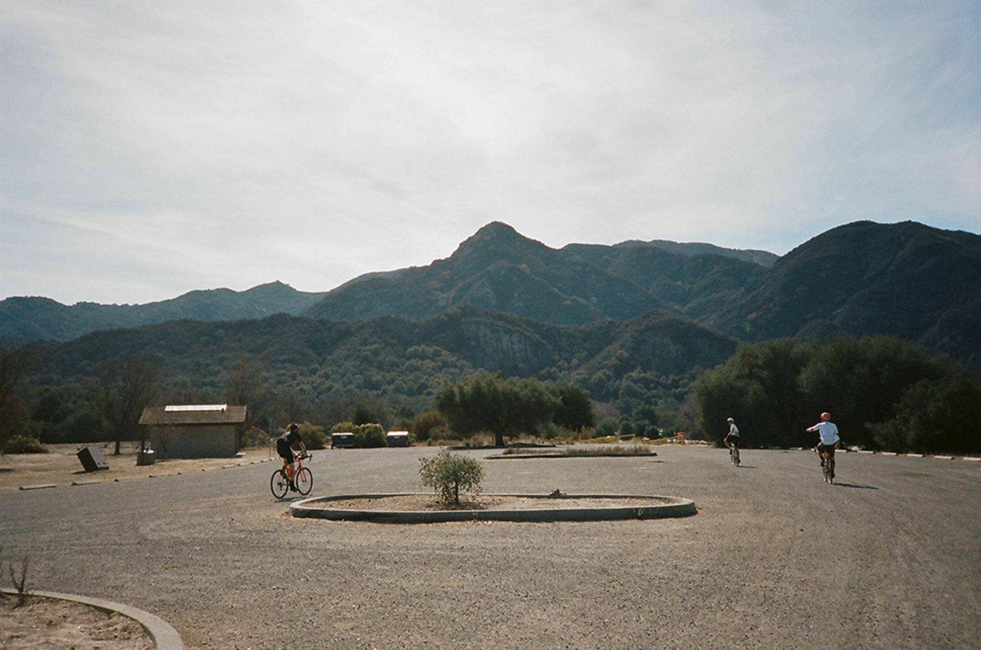 Rolling into Malibu Creek State Park, in search of the supposed Coke machine.