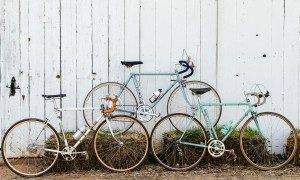A tryptic of beautiful, vintage bicycles.