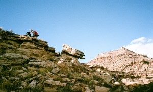 Tim and Glenn push their way up the Kokopelli Trail.