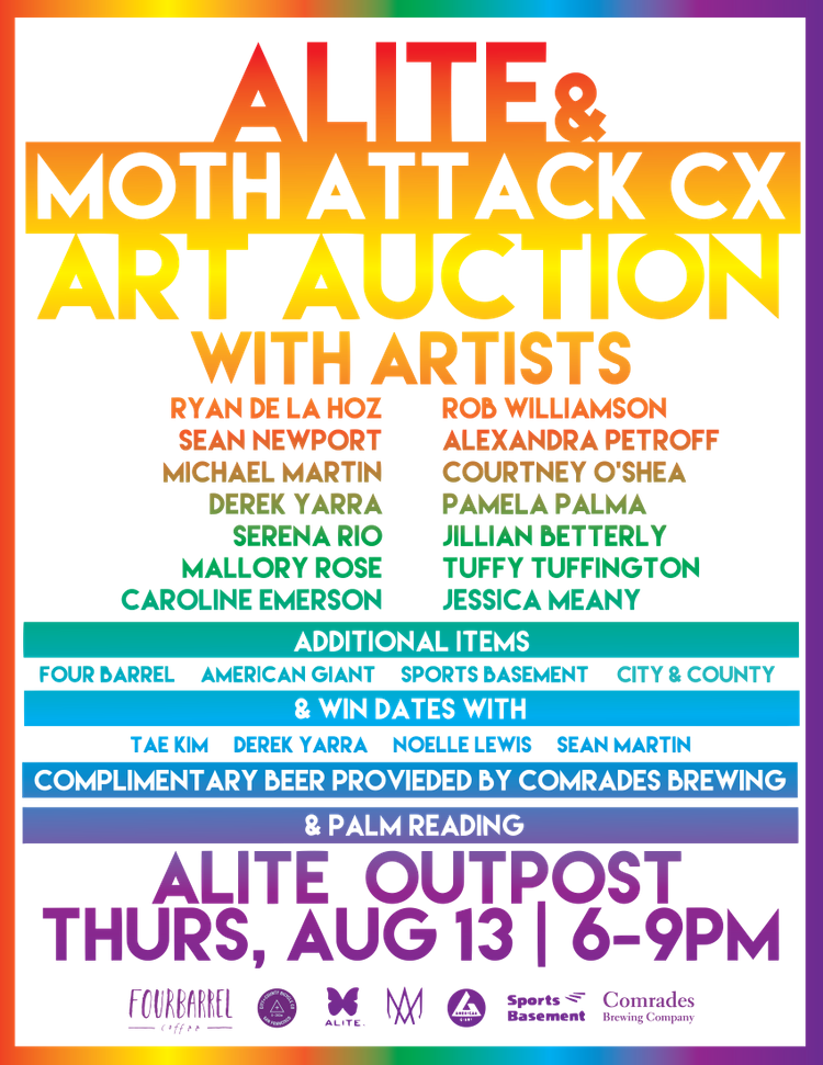 Moth Attack Art Auction Tomorrow Night at the ALITE Outpost in SF