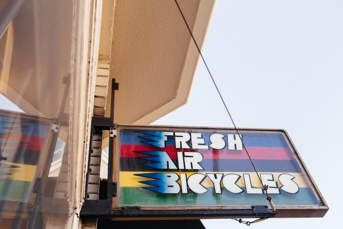 The original Fresh Air Bicycles sign from when the shop opened in the 70's.