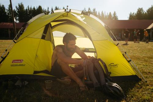 Jonathan in his tent