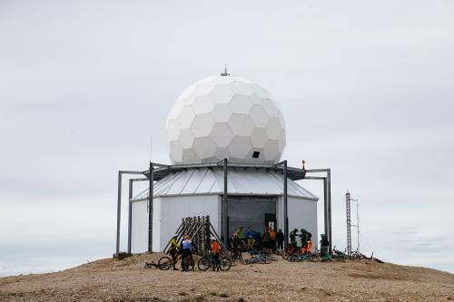 The group waited for us at the top of a mountain, at this weather station.
