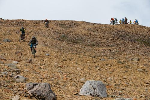 ... and downhill on shale, as we surfed this scree field.