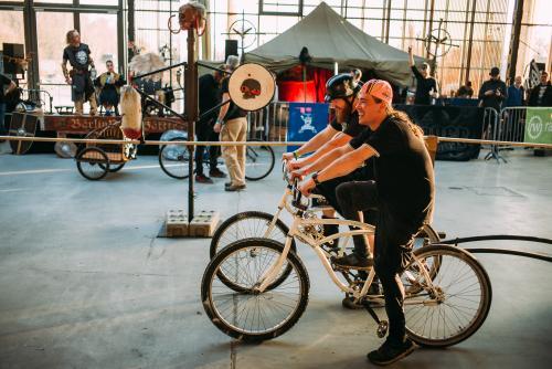Bike jousting / LARPing.