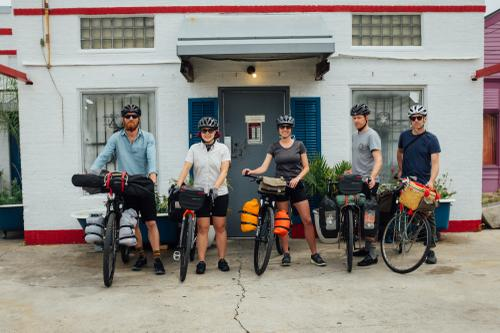 The whole assemblage of wayward humans, ready for the road ahead. Mile 0.