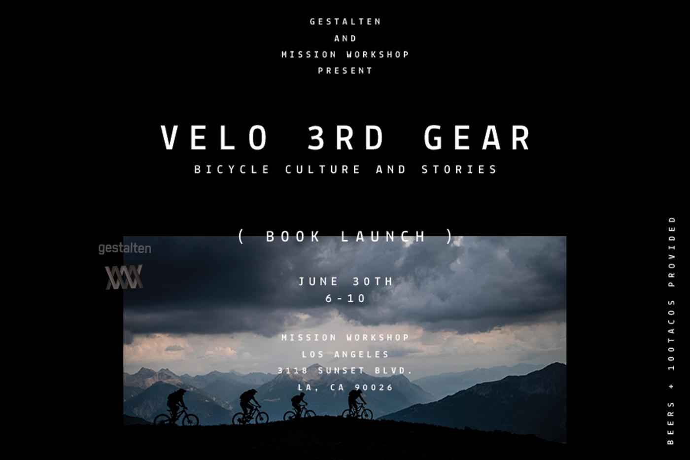 Velo 3rd Gear Book Launch at Mission Workshop LA Thursday