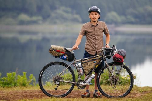 Shige on his Salsa Cycles tourer