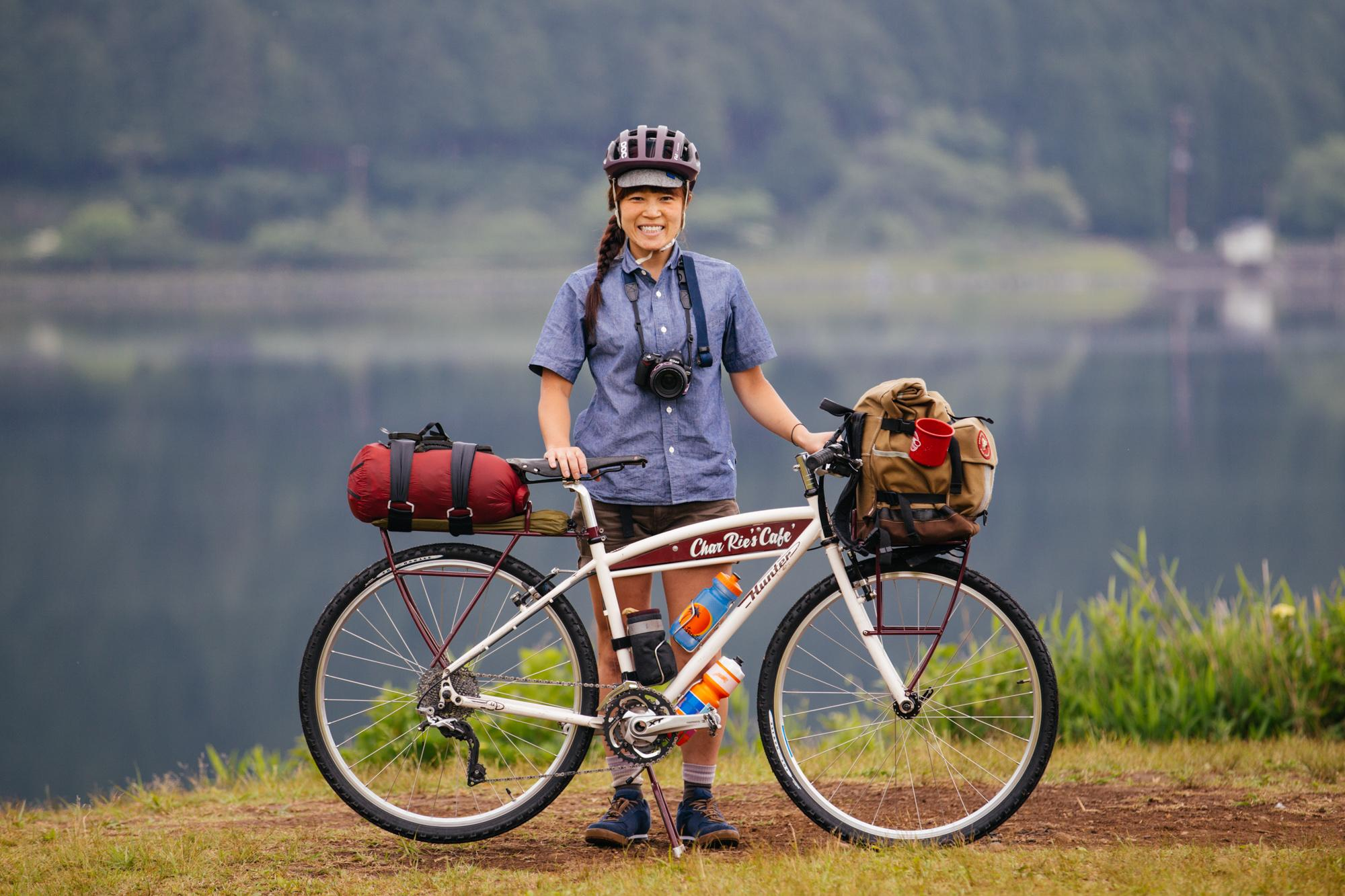 Rie, on her Hunter Cycles Touring Bike
