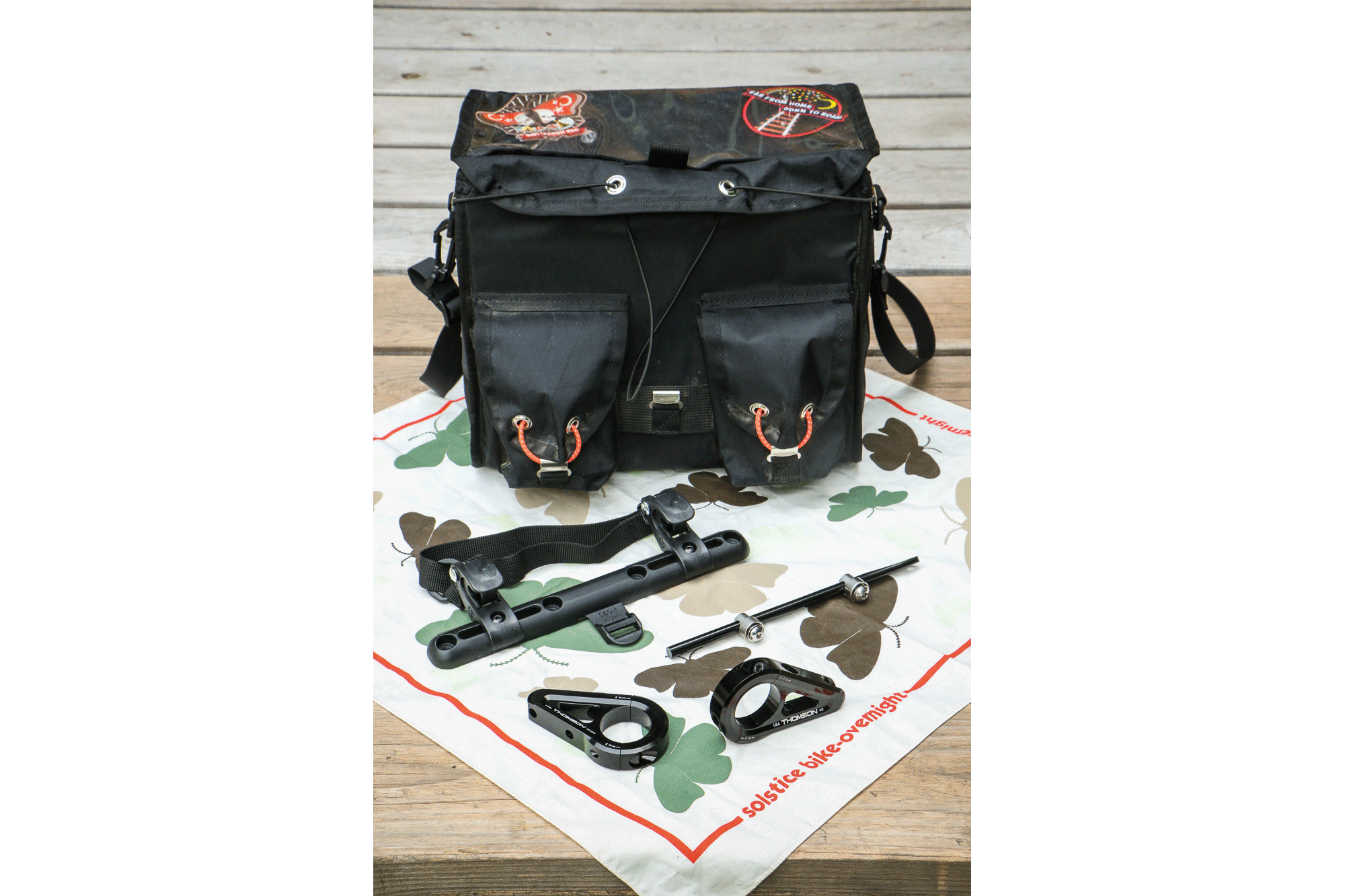 The basic ingredients list: Swift Ozette bag, Ortlieb pannier rail, Tubus rack stay and clamps, and Thomson direct mount stem.