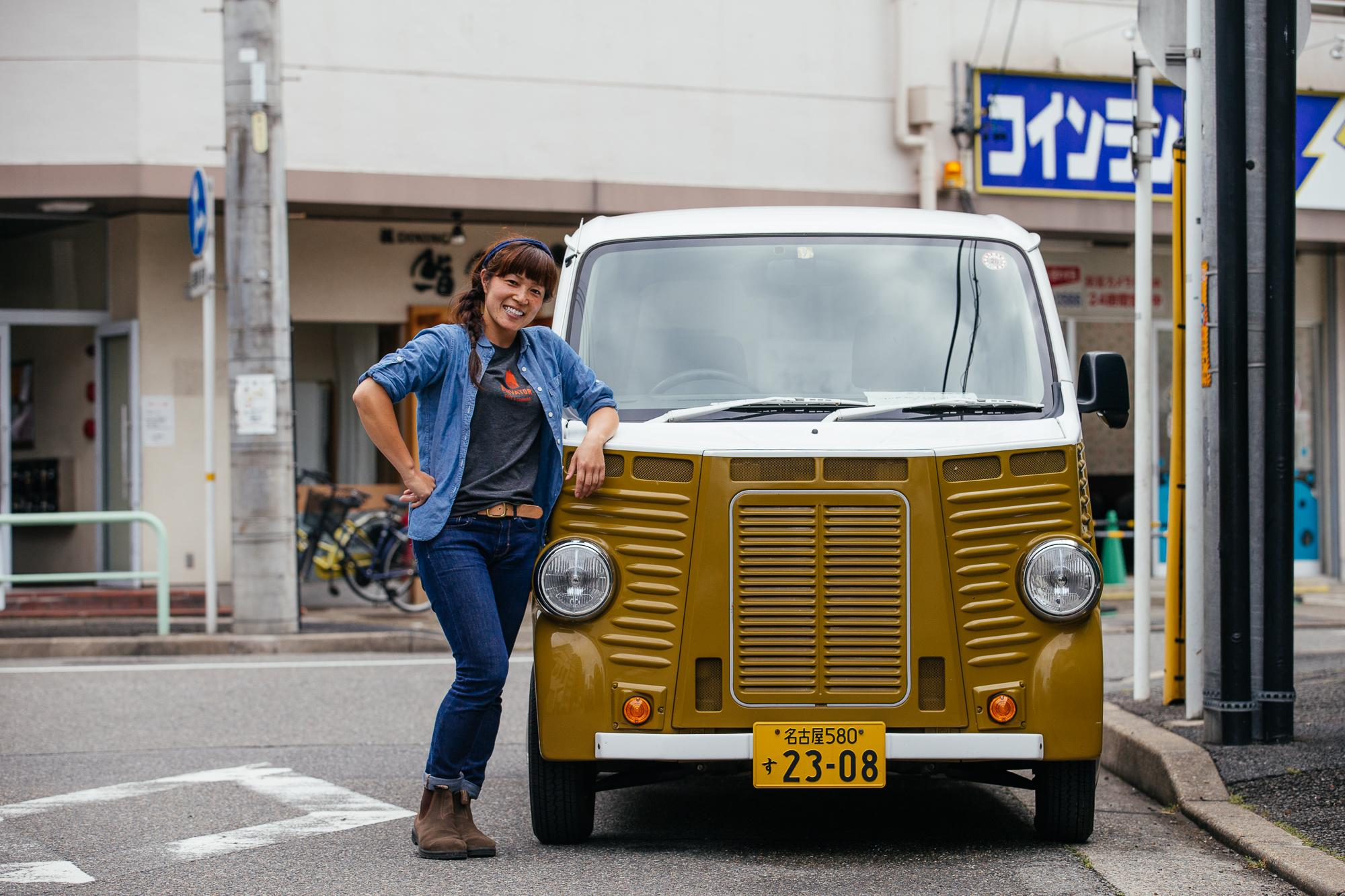 Rie and her cool van!