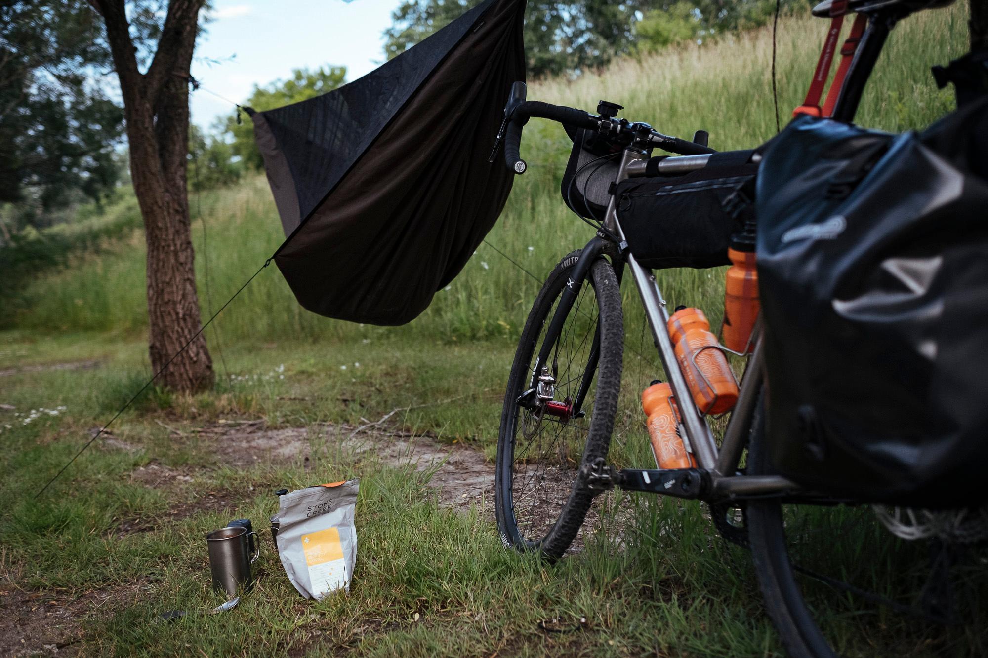 Ultralight hammock camping setup and good coffee. Kaukauna, WI