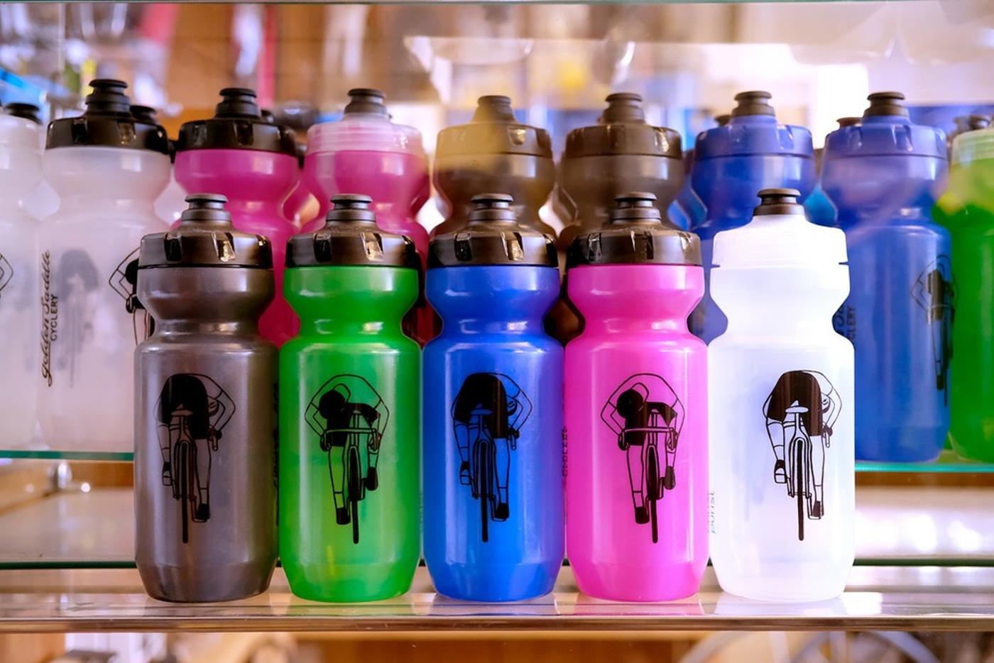 Golden Saddle Cyclery Dropper Bottles by Geoff McFetridge