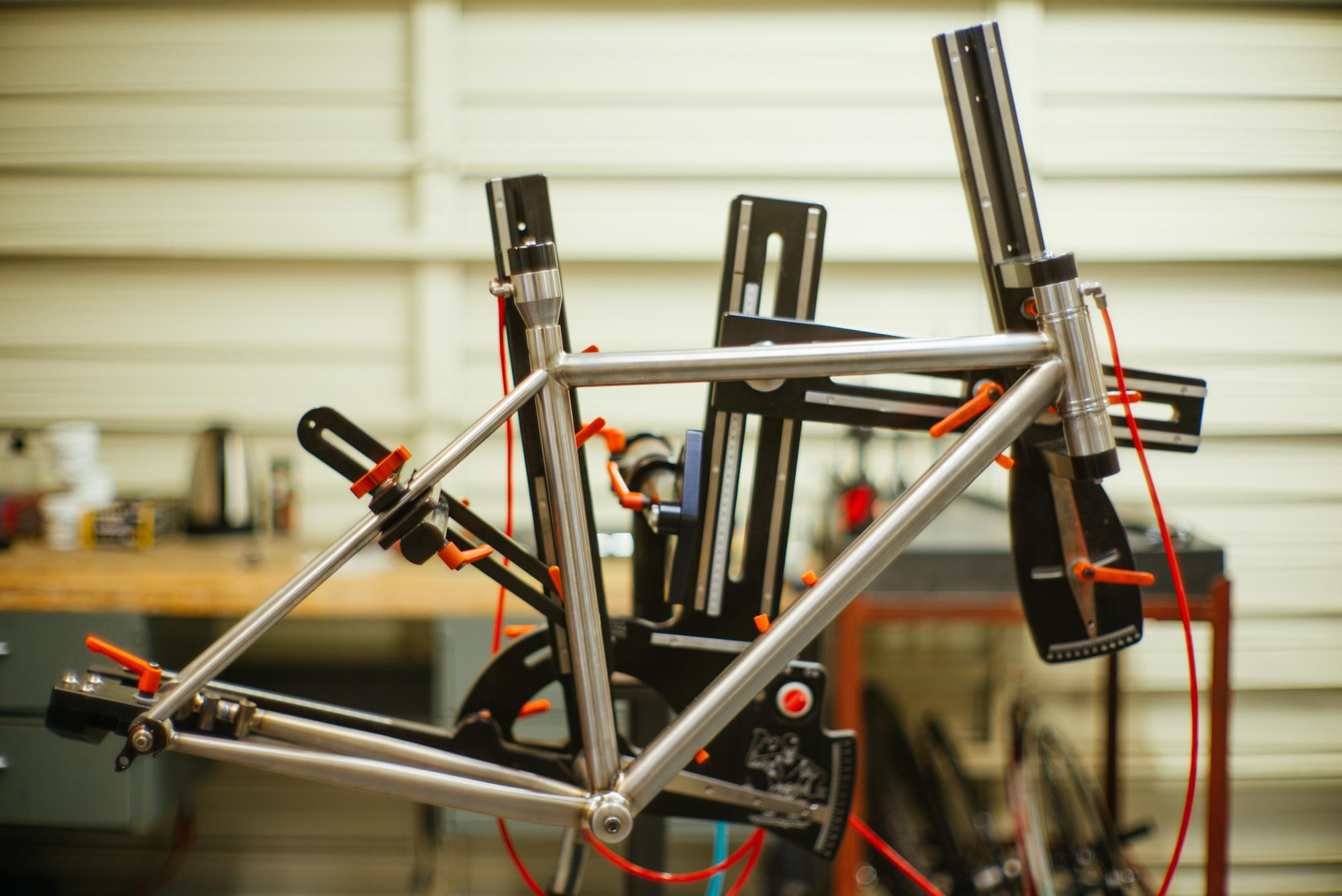 A mountain bike in the jig
