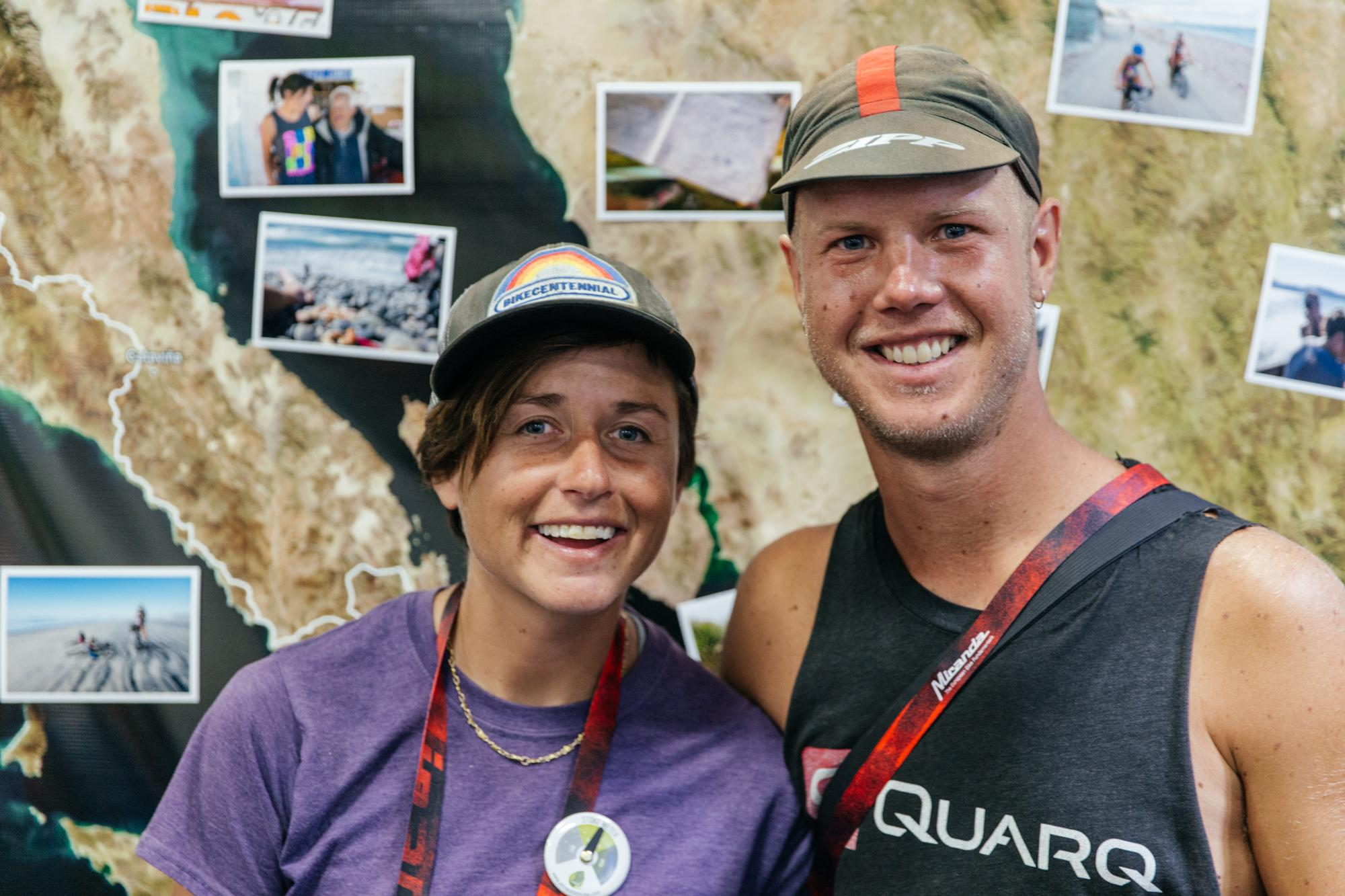 Lael and Nicholas in the Revelate Booth and their Baja Divide route.
