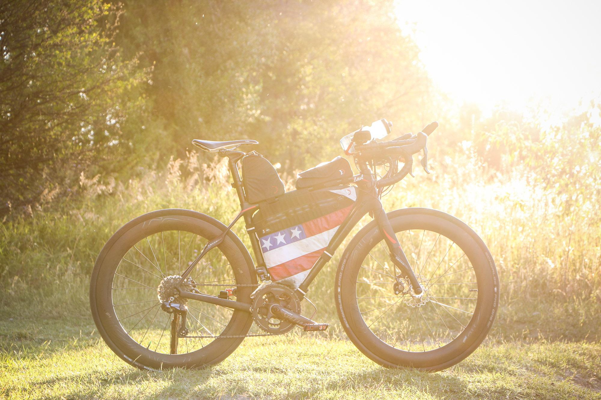 Lael Wilcox's TransAm winning bike.