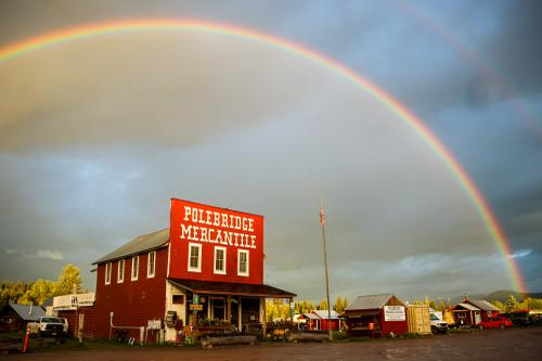 Another insane rainbow, this time in Polebridge. Get your bearclaws here.