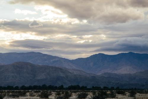 We put our heads down and pace-lined it to Palm Springs as the sun set and the sky erupted...