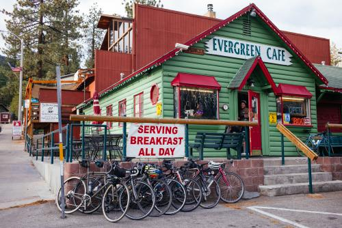 Evergreen Cafe's bike parking.