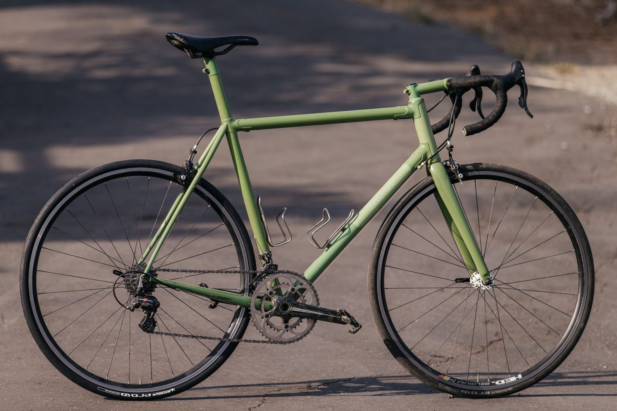 Todd's Black Cat Bicycles Carbon and Steel Road Has 8 Lives Left