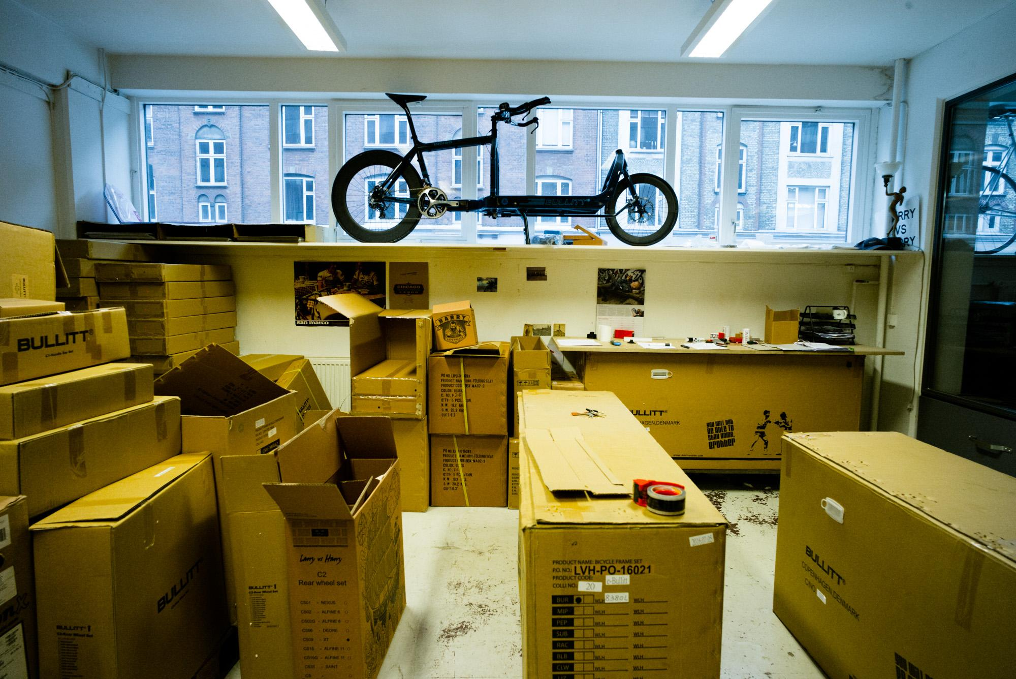 The worlds fastest cargo bike looks down at some orders being pr