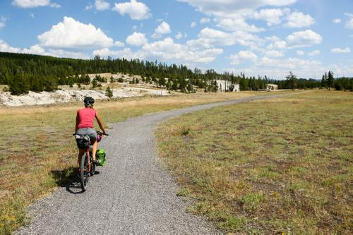 A bike-friendly gravel trail to Old Faithful, yew!